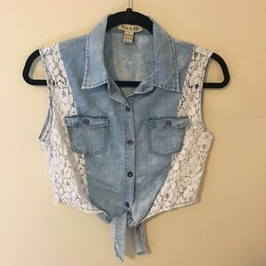Fun & Flirt Denim Lace Tie Country Style Crop Top